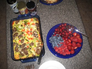 Egg Pie and Fruit